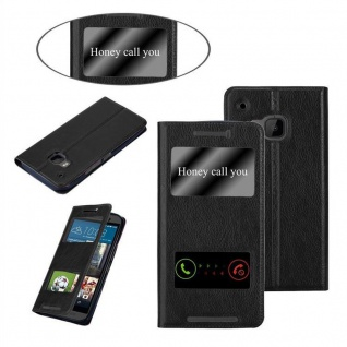 Cadorabo Hülle für HTC One M9 in KOMETEN SCHWARZ ? Handyhülle mit Magnetverschluss, Standfunktion und 2 Sichtfenstern ? Case Cover Schutzhülle Etui Tasche Book Klapp Style - Vorschau 3