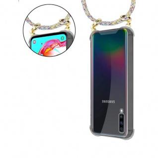 Cadorabo Handy Kette für Samsung Galaxy A70 in RAINBOW - Silikon Necklace Umhänge Hülle mit Gold Ringen, Kordel Band Schnur und abnehmbarem Etui ? Schutzhülle - Vorschau 5
