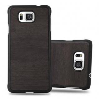 Cadorabo Hülle für Samsung Galaxy ALPHA in WOODY SCHWARZ - Hardcase Handyhülle aus Plastik gegen Kratzer und Stöße - Schutzhülle Bumper Ultra Slim Back Case Hard Cover