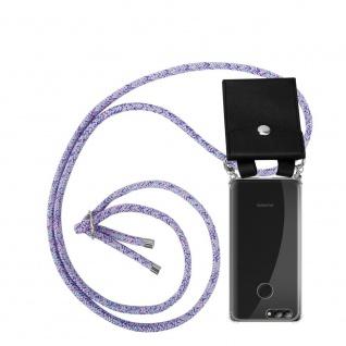 Cadorabo Handy Kette für Huawei NOVA 2 in UNICORN Silikon Necklace Umhänge Hülle mit Silber Ringen, Kordel Band Schnur und abnehmbarem Etui Schutzhülle