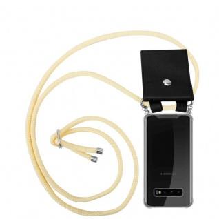 Cadorabo Handy Kette für Samsung Galaxy S10 PLUS in CREME BEIGE Silikon Necklace Umhänge Hülle mit Silber Ringen, Kordel Band Schnur und abnehmbarem Etui Schutzhülle
