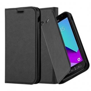 Cadorabo Hülle für Samsung Galaxy XCover 4 in NACHT SCHWARZ - Handyhülle mit Magnetverschluss, Standfunktion und Kartenfach - Case Cover Schutzhülle Etui Tasche Book Klapp Style