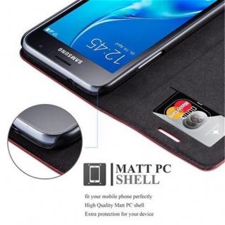 Cadorabo Hülle für Samsung Galaxy J1 2016 in APFEL ROT - Handyhülle mit Magnetverschluss, Standfunktion und Kartenfach - Case Cover Schutzhülle Etui Tasche Book Klapp Style - Vorschau 2