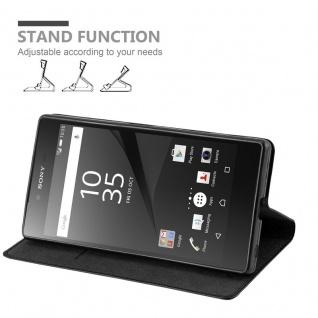 Cadorabo Hülle für Sony Xperia Z in NACHT SCHWARZ - Handyhülle mit Magnetverschluss, Standfunktion und Kartenfach - Case Cover Schutzhülle Etui Tasche Book Klapp Style