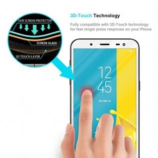 Cadorabo Vollbild Panzer Folie für Samsung Galaxy J6 2018 - Schutzfolie in TRANSPARENT mit WEISS - Gehärtetes (Tempered) Display-Schutzglas in 9H Härte mit 3D Touch Kompatibilität - Vorschau 5