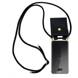 Cadorabo Handy Kette für Sony Xperia 10 in SCHWARZ Silikon Necklace Umhänge Hülle mit Gold Ringen, Kordel Band Schnur und abnehmbarem Etui Schutzhülle