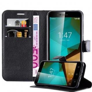 Cadorabo Hülle für Vodafone Smart PRIME 7 in PHANTOM SCHWARZ Handyhülle mit Magnetverschluss, Standfunktion und Kartenfach Case Cover Schutzhülle Etui Tasche Book Klapp Style