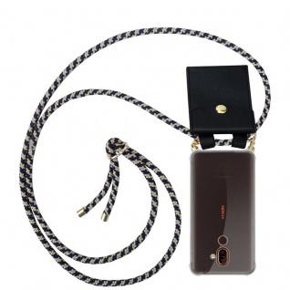 Cadorabo Handy Kette für Nokia 7 PLUS in DUNKELBLAU GELB Silikon Necklace Umhänge Hülle mit Gold Ringen, Kordel Band Schnur und abnehmbarem Etui Schutzhülle