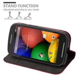 Cadorabo Hülle für Motorola MOTO E1 in APFEL ROT Handyhülle mit Magnetverschluss, Standfunktion und Kartenfach Case Cover Schutzhülle Etui Tasche Book Klapp Style - Vorschau 4