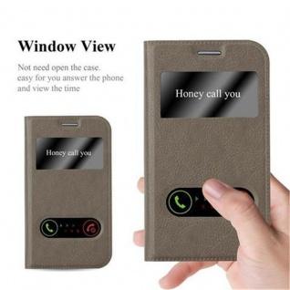 Cadorabo Hülle für Samsung Galaxy XCOVER 3 in STEIN BRAUN ? Handyhülle mit Magnetverschluss, Standfunktion und 2 Sichtfenstern ? Case Cover Schutzhülle Etui Tasche Book Klapp Style - Vorschau 2