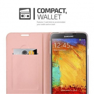 Cadorabo Hülle für Samsung Galaxy NOTE 3 in CLASSY ROSÉ GOLD - Handyhülle mit Magnetverschluss, Standfunktion und Kartenfach - Case Cover Schutzhülle Etui Tasche Book Klapp Style - Vorschau 3