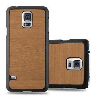 Cadorabo Hülle für Samsung Galaxy S5 / S5 NEO in WOODY BRAUN ? Hardcase Handyhülle aus Plastik gegen Kratzer und Stöße ? Schutzhülle Bumper Ultra Slim Back Case Hard Cover