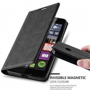 Cadorabo Hülle für Nokia Lumia 640 in NACHT SCHWARZ - Handyhülle mit Magnetverschluss, Standfunktion und Kartenfach - Case Cover Schutzhülle Etui Tasche Book Klapp Style