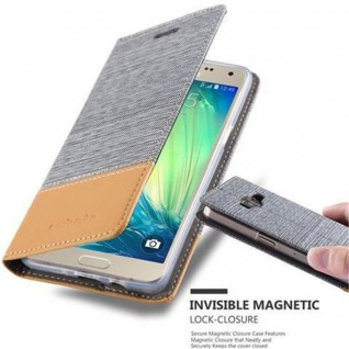 Cadorabo Hülle für Samsung Galaxy A5 2015 in HELL GRAU BRAUN - Handyhülle mit Magnetverschluss, Standfunktion und Kartenfach - Case Cover Schutzhülle Etui Tasche Book Klapp Style