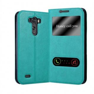 Cadorabo Hülle für LG G3 in MINT TÜRKIS ? Handyhülle mit Magnetverschluss, Standfunktion und 2 Sichtfenstern ? Case Cover Schutzhülle Etui Tasche Book Klapp Style