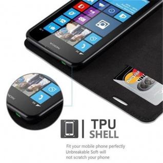 Cadorabo Hülle für Nokia Lumia 630 in NACHT SCHWARZ - Handyhülle mit Magnetverschluss, Standfunktion und Kartenfach - Case Cover Schutzhülle Etui Tasche Book Klapp Style - Vorschau 4