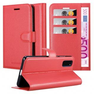 Cadorabo Hülle für Samsung Galaxy S20 in KARMIN ROT Handyhülle mit Magnetverschluss, Standfunktion und Kartenfach Case Cover Schutzhülle Etui Tasche Book Klapp Style