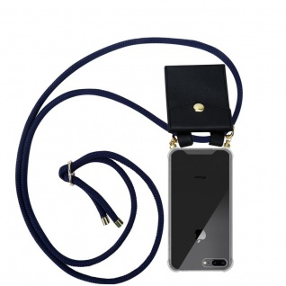 Cadorabo Handy Kette für Apple iPhone 8 PLUS / 7 PLUS / 7S PLUS in TIEF BLAU - Silikon Necklace Umhänge Hülle mit Gold Ringen, Kordel Band Schnur und abnehmbarem Etui ? Schutzhülle