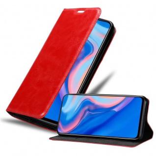Cadorabo Hülle für Huawei P SMART Z in APFEL ROT Handyhülle mit Magnetverschluss, Standfunktion und Kartenfach Case Cover Schutzhülle Etui Tasche Book Klapp Style