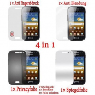 Cadorabo Displayschutzfolien für Samsung Galaxy ACE 1 - Schutzfolien in HIGH CLEAR ? 4 Folien (1x Privacy - 1x Spiegel - 1x Matt - 1x Anti-Fingerabdruck)