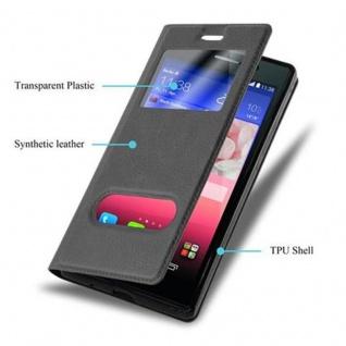 Cadorabo Hülle für Huawei P7 in KOMETEN SCHWARZ ? Handyhülle mit Magnetverschluss, Standfunktion und 2 Sichtfenstern ? Case Cover Schutzhülle Etui Tasche Book Klapp Style - Vorschau 3