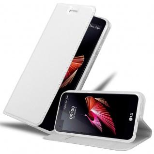 Cadorabo Hülle für LG X SCREEN in CLASSY SILBER - Handyhülle mit Magnetverschluss, Standfunktion und Kartenfach - Case Cover Schutzhülle Etui Tasche Book Klapp Style