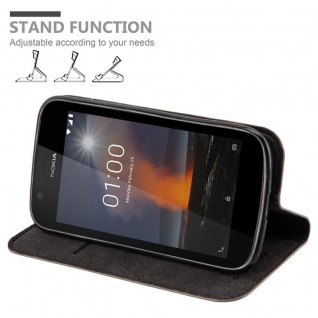 Cadorabo Hülle für Nokia 1 2017 in KAFFEE BRAUN - Handyhülle mit Magnetverschluss, Standfunktion und Kartenfach - Case Cover Schutzhülle Etui Tasche Book Klapp Style - Vorschau 4