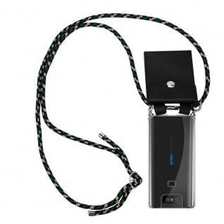 Cadorabo Handy Kette für Asus ZenFone 6 in CAMOUFLAGE Silikon Necklace Umhänge Hülle mit Silber Ringen, Kordel Band Schnur und abnehmbarem Etui Schutzhülle