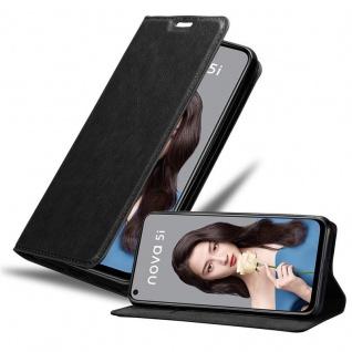 Cadorabo Hülle für Huawei NOVA 5i / P20 LITE 2019 in NACHT SCHWARZ - Handyhülle mit Magnetverschluss, Standfunktion und Kartenfach - Case Cover Schutzhülle Etui Tasche Book Klapp Style