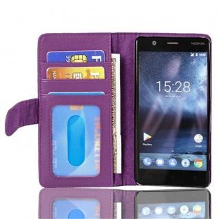 Cadorabo Hülle für Nokia 3 2017 in BORDEAUX LILA ? Handyhülle mit Magnetverschluss und 3 Kartenfächern ? Case Cover Schutzhülle Etui Tasche Book Klapp Style