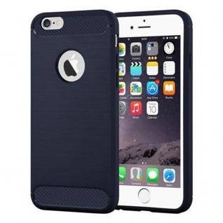 Cadorabo Hülle für Apple iPhone 6 PLUS / iPhone 6S PLUS - Hülle in BRUSHED BLAU ? Handyhülle aus TPU Silikon in Edelstahl-Karbonfaser Optik - Ultra Slim Soft Backcover Case Bumper