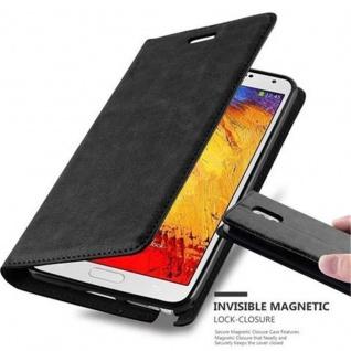 Cadorabo Hülle für Samsung Galaxy NOTE 3 in NACHT SCHWARZ - Handyhülle mit Magnetverschluss, Standfunktion und Kartenfach - Case Cover Schutzhülle Etui Tasche Book Klapp Style