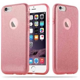 Cadorabo Hülle für Apple iPhone 6 / iPhone 6S - Hülle in STERNENSTAUB PINK - TPU Silikon und Hardcase Handyhülle im Glitzer Design - Hard Case TPU Silikon Schutzhülle