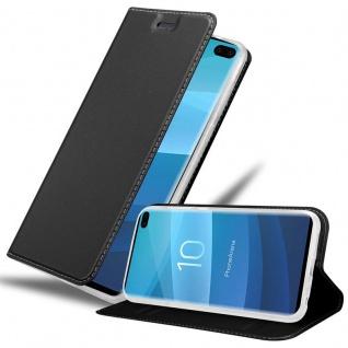 Cadorabo Hülle für Samsung Galaxy S10 PLUS in CLASSY SCHWARZ - Handyhülle mit Magnetverschluss, Standfunktion und Kartenfach - Case Cover Schutzhülle Etui Tasche Book Klapp Style