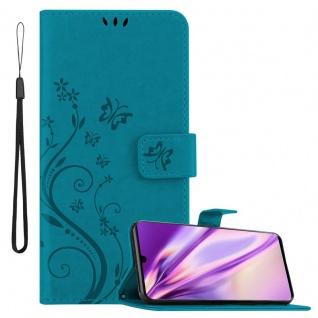 Cadorabo Hülle für Huawei P30 in FLORAL BLAU Handyhülle im Blumen Design mit Magnetverschluss, Standfunktion und 3 Kartenfächern Case Cover Schutzhülle Etui Tasche