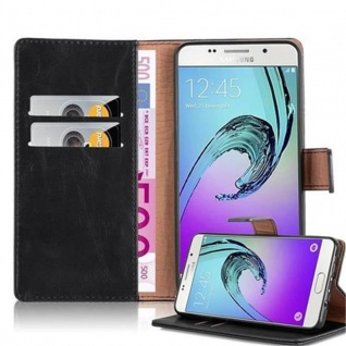 Cadorabo Hülle für Samsung Galaxy A5 2016 in GRAPHIT SCHWARZ - Handyhülle mit Magnetverschluss, Standfunktion und Kartenfach - Case Cover Schutzhülle Etui Tasche Book Klapp Style