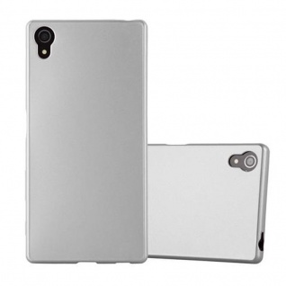 Cadorabo Hülle für Sony Xperia Z5 - Hülle in METALLIC SILBER ? Handyhülle aus TPU Silikon im Matt Metallic Design - Ultra Slim Soft Backcover Case Bumper