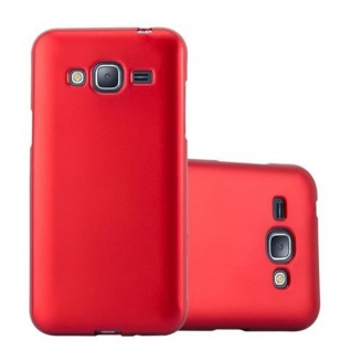 Cadorabo Hülle für Samsung Galaxy J3 / J3 DUOS 2016 in METALLIC ROT - Handyhülle aus flexiblem TPU Silikon - Silikonhülle Schutzhülle Ultra Slim Soft Back Cover Case Bumper