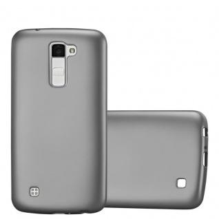 Cadorabo Hülle für LG K10 2016 in METALLIC GRAU - Handyhülle aus flexiblem TPU Silikon - Silikonhülle Schutzhülle Ultra Slim Soft Back Cover Case Bumper