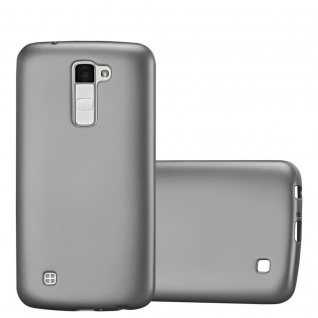 Cadorabo Hülle für LG K10 2016 in METALLIC GRAU Handyhülle aus flexiblem TPU Silikon Silikonhülle Schutzhülle Ultra Slim Soft Back Cover Case Bumper
