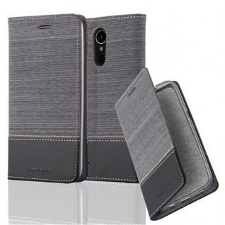 Cadorabo Hülle für LG K10 2017 in GRAU SCHWARZ Handyhülle mit Magnetverschluss, Standfunktion und Kartenfach Case Cover Schutzhülle Etui Tasche Book Klapp Style