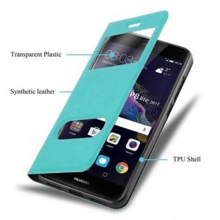Cadorabo Hülle für Huawei P8 LITE 2017 in MINT TÜRKIS - Handyhülle mit Magnetverschluss, Standfunktion und 2 Sichtfenstern - Case Cover Schutzhülle Etui Tasche Book Klapp Style - Vorschau 3