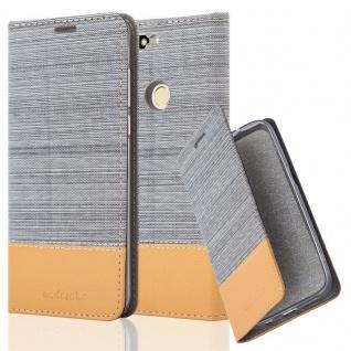 Cadorabo Hülle für Honor 7C in HELL GRAU BRAUN - Handyhülle mit Magnetverschluss, Standfunktion und Kartenfach - Case Cover Schutzhülle Etui Tasche Book Klapp Style