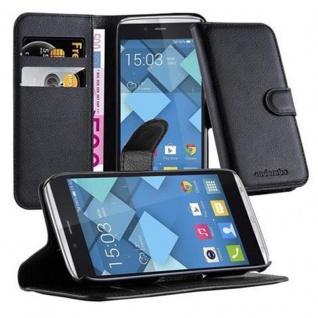 Cadorabo Hülle für Alcatel OneTouch IDOL ALPHA - Hülle in PHANTOM SCHWARZ ? Handyhülle mit Kartenfach und Standfunktion - Case Cover Schutzhülle Etui Tasche Book Klapp Style