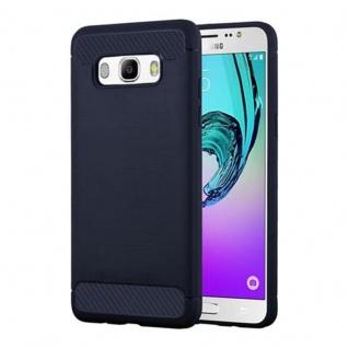Cadorabo Hülle für Samsung Galaxy J7 2016 (6) - Hülle in BRUSHED BLAU - Handyhülle aus TPU Silikon in Edelstahl-Karbonfaser Optik - Silikonhülle Schutzhülle Ultra Slim Soft Back Cover Case Bumper