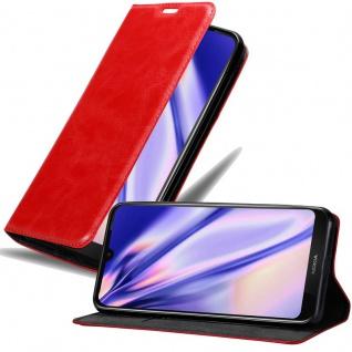 Cadorabo Hülle für Nokia 4.2 in APFEL ROT - Handyhülle mit Magnetverschluss, Standfunktion und Kartenfach - Case Cover Schutzhülle Etui Tasche Book Klapp Style