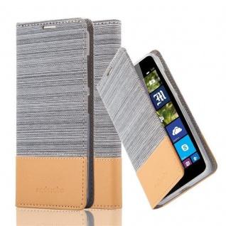 Cadorabo Hülle für Nokia Lumia 540 in HELL GRAU BRAUN - Handyhülle mit Magnetverschluss, Standfunktion und Kartenfach - Case Cover Schutzhülle Etui Tasche Book Klapp Style