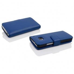 Cadorabo Hülle für HTC ONE M4 MINI in KÖNIGS BLAU - Handyhülle aus strukturiertem Kunstleder mit Standfunktion und Kartenfach - Case Cover Schutzhülle Etui Tasche Book Klapp Style - Vorschau 3