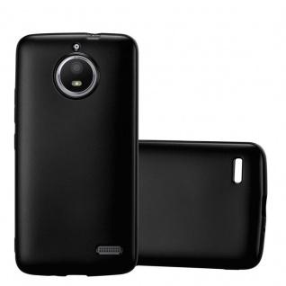 Cadorabo Hülle für Motorola MOTO E4 in METALLIC SCHWARZ - Handyhülle aus flexiblem TPU Silikon - Silikonhülle Schutzhülle Ultra Slim Soft Back Cover Case Bumper