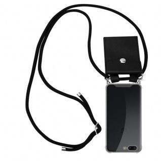 Cadorabo Handy Kette für OnePlus 5 in SCHWARZ Silikon Necklace Umhänge Hülle mit Silber Ringen, Kordel Band Schnur und abnehmbarem Etui Schutzhülle